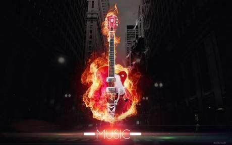горящая гитара фото